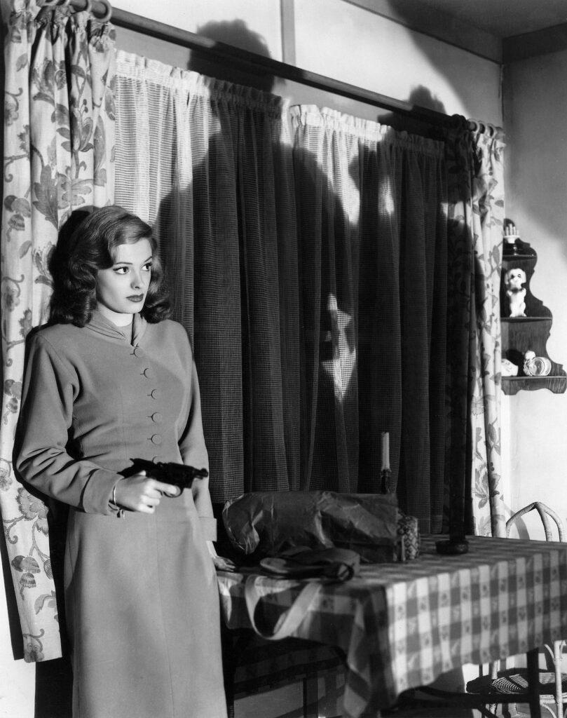"""Jane Greer en """"Retorno Al Paraíso"""" (1947) de Jacques Tourneur. Film Noir"""